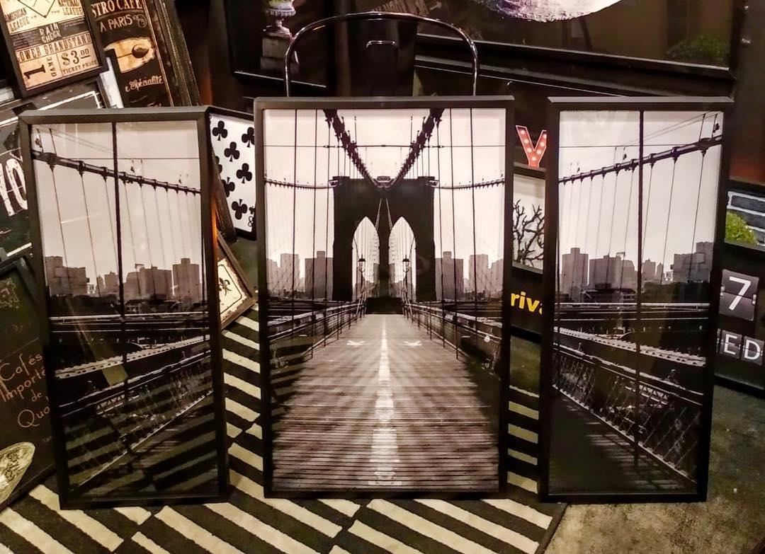 Conjunto da Ponte do Brooklyn (3 Imagens) Reprodução de fotografias a preto e branco de ...