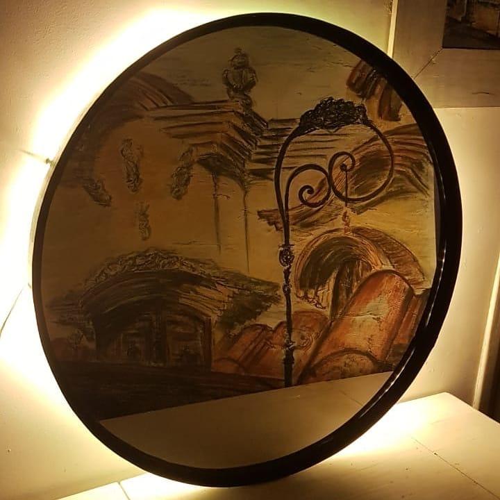Espelho preto com costas LED de 70 cm de diâmetro. . Obrigado @ panchetestyle para ...