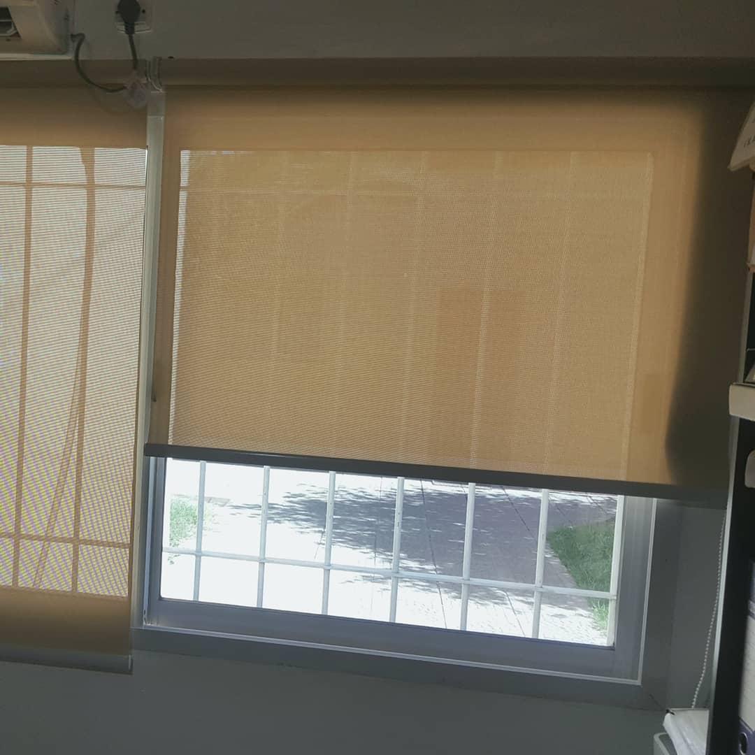 Cortinas de rolo em tecido de tela que permite que 5% da luz solar passem. Consultas para ...