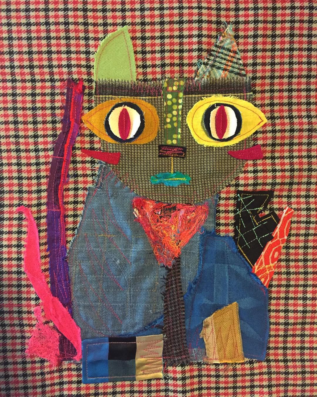Cat Rocasatt #cuadro #rocasattart #telasrecicladas #artetextil #creative #cat ...