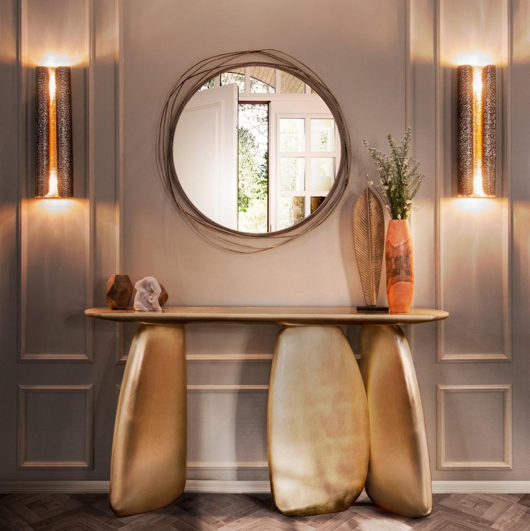 Como mencionamos antes, um espelho é indispensável em uma entrada. O espelho redondo Kayan ...