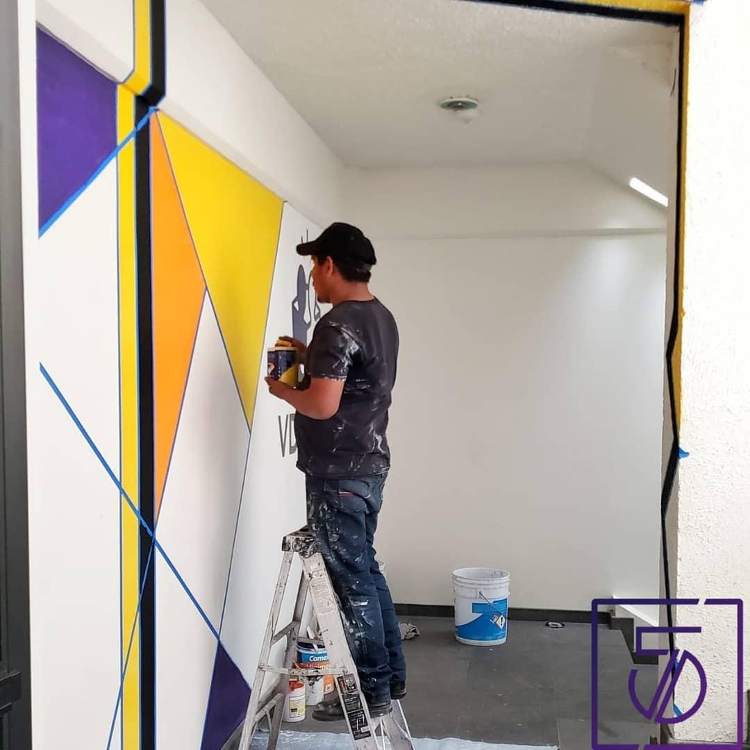 Projeto: Acessar mural | Localização: Escritórios em Puebla .  Nós amamos o homem ...
