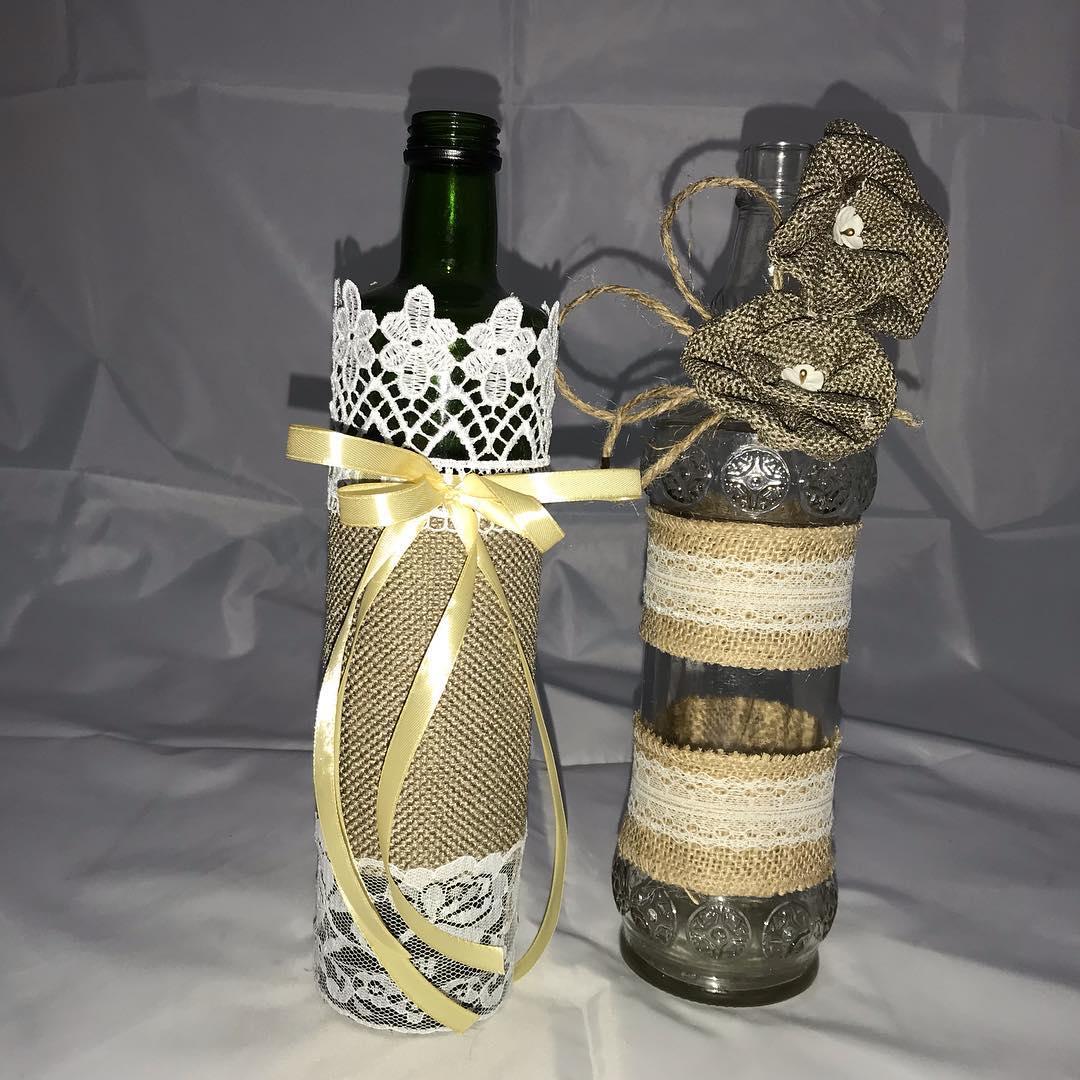 Garrafas de estilo vintage decorado Nós vamos usar 2 garrafas, tecido de juta, enc ...