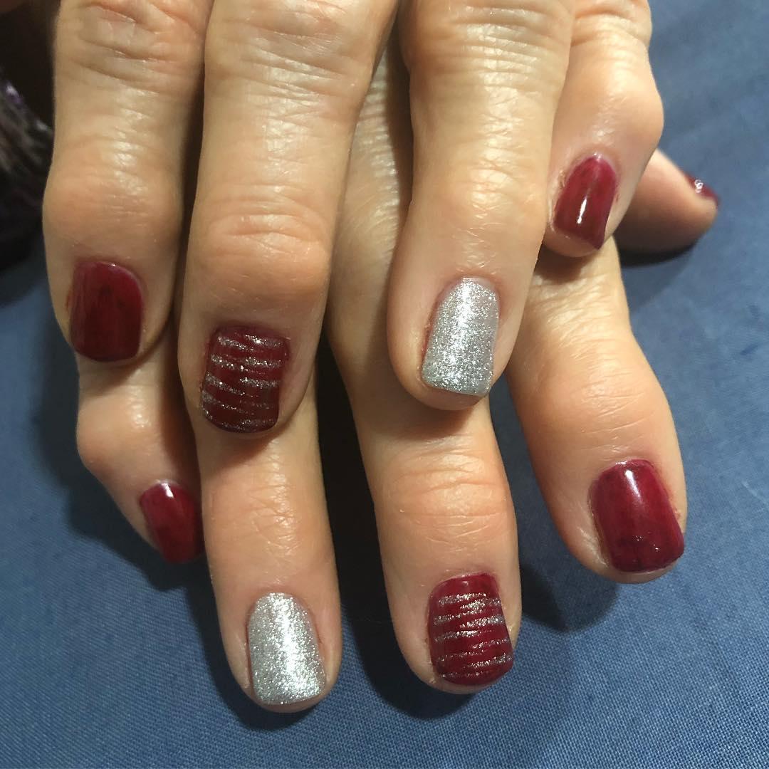 Esmalte permanente de vinho tinto com efeito + glitter nail + decoração ...