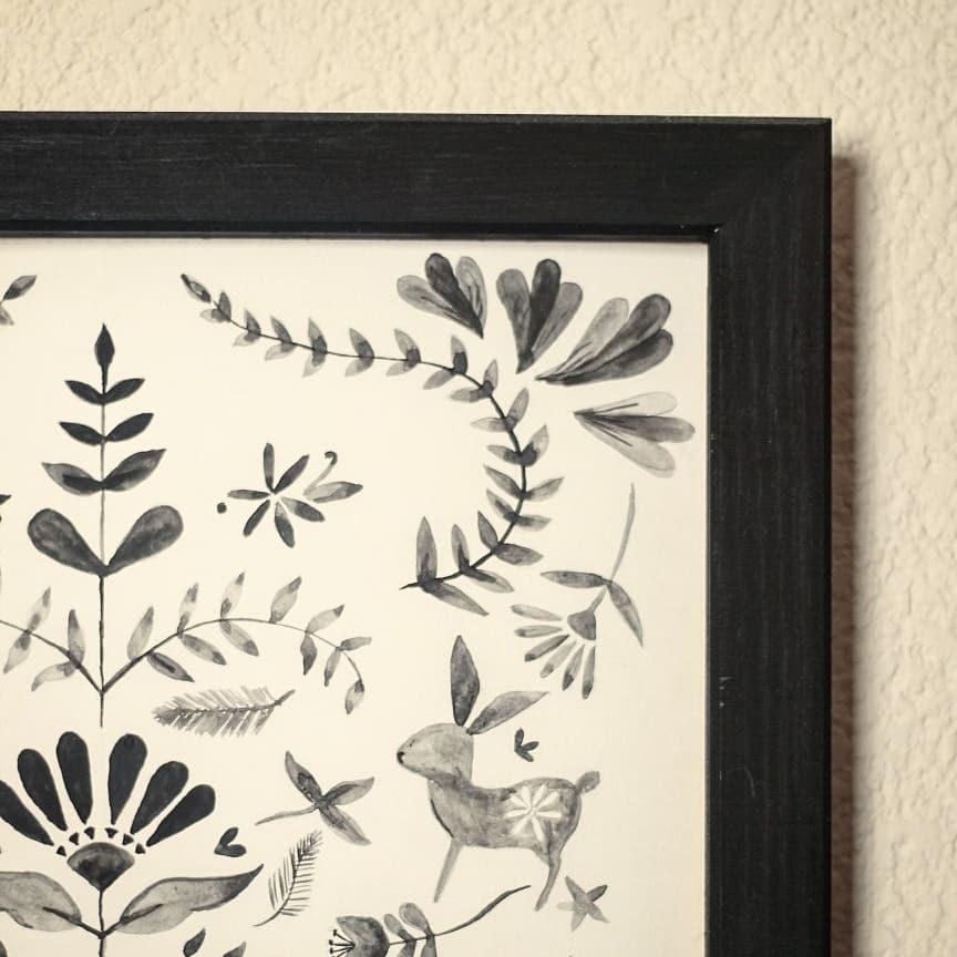 Decoração imagem pintada à mão com aquarela, o quadro é feito de madeira natural ...