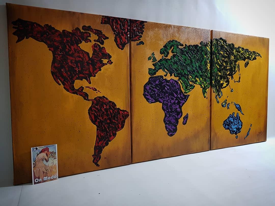 Mapa de Ocre CONSULTAS POR PARTICULAR  ℕ  ℕ Pintados à mão! Texturizado! ...