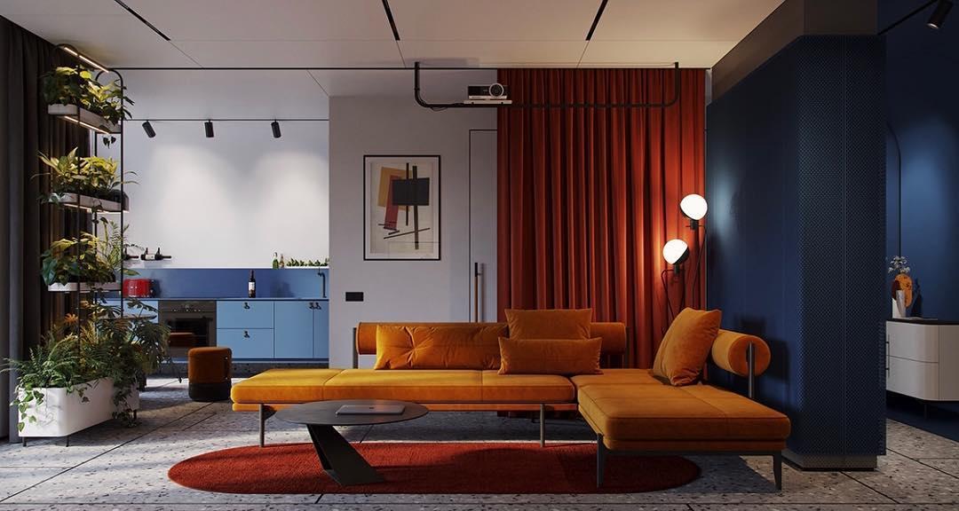 design russo e colorblock por @ form8.studio . . . . . #livingroom #living #arch ...