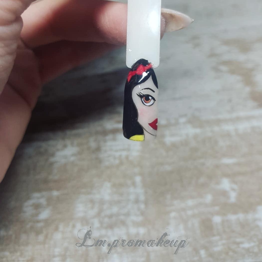 Branca de neve mão levantada # unhas de porcelana # unhas # unhas decoradas # decoracio ...