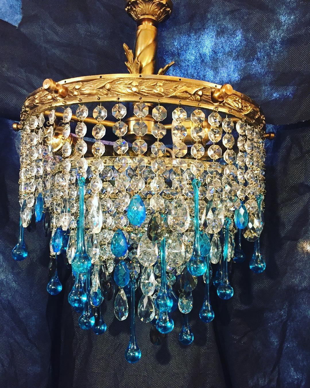 Lâmpada de bronze antigo com cristais e cores, 4 luzes, fusão! Projeto cl ...