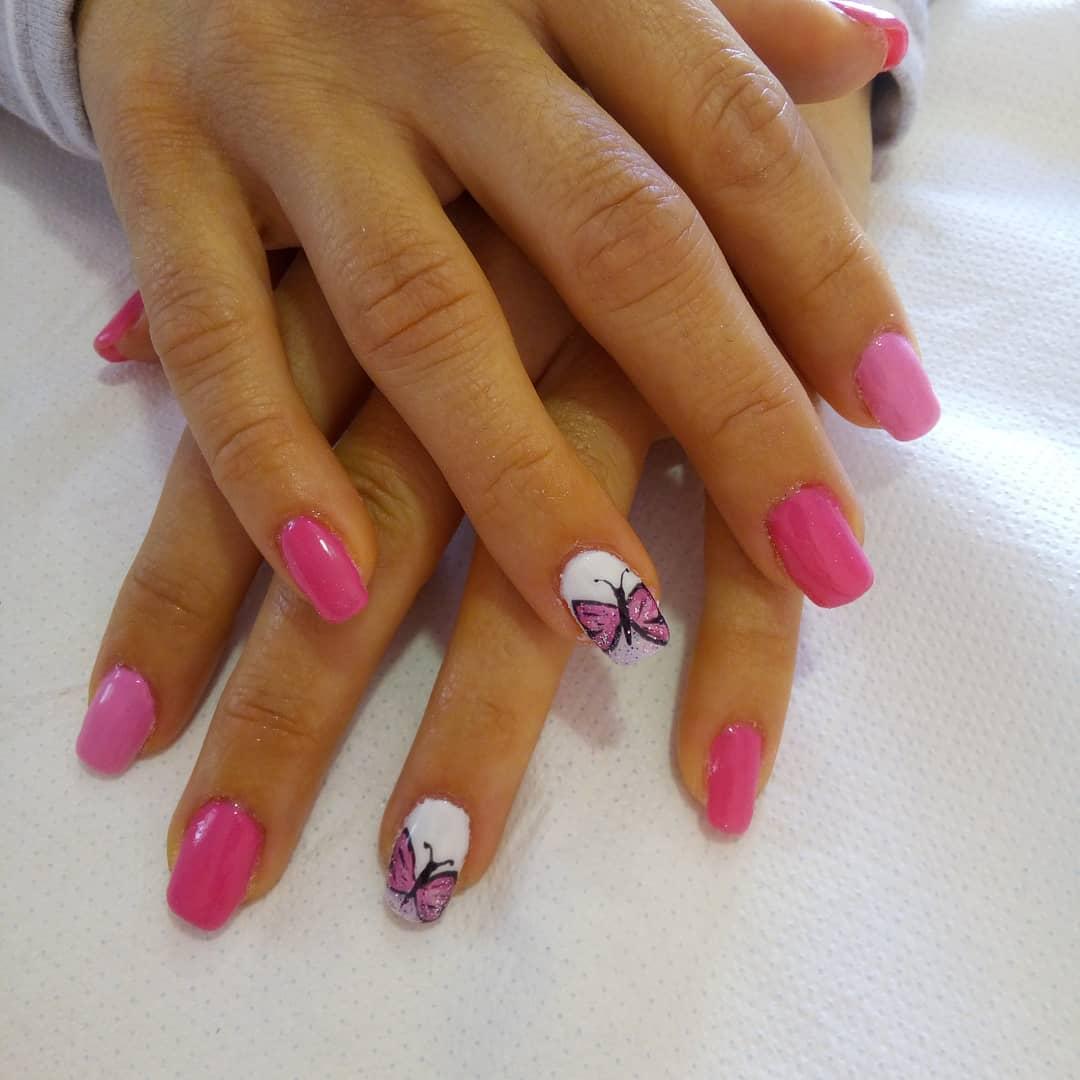 # unhas # unhas # esmaltes permanentes # unhas pequenas permanentes # rosa # unhas borboletas # ...
