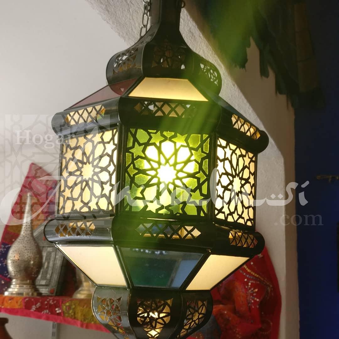 Vá não # Lâmpada de bronze em relevo árabe e cristais coloridos. Apenas para t ...