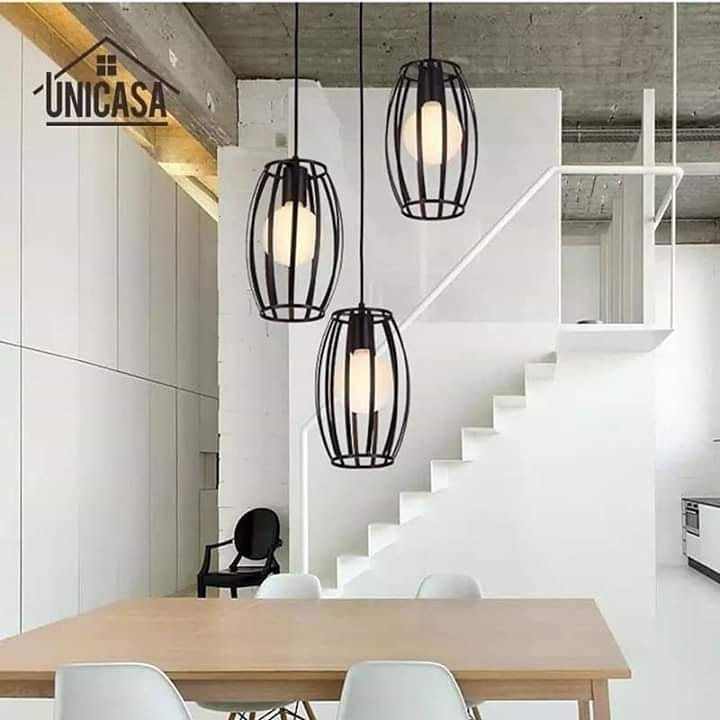 Lâmpada de suspensão, estilo vintage. Altura ajustável Design de 3 ampolas ...
